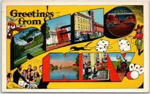 RENO NEV. Nevada Large Letter Postcard Multi-View Dice Cowboys Linen 1945 Cancel