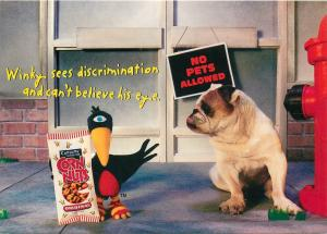 Winky The Crow Show. Corn Nuts Advertising Continental Rack Size Postcard