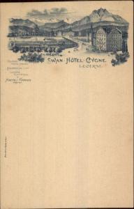 Lucern Lucerne Switzerland Swan Hotel Cygne 1900 Postcard
