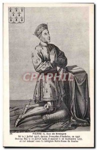 Postcard Old Stone II Duke of Brittany in 1418 not married Françoise of Amboise