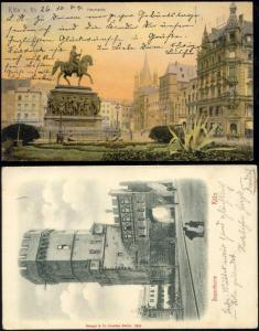 germany, 2x pc KOLN COLOGNE, Bayenthurm, Heumarkt, Statue (1900/04) Stamps