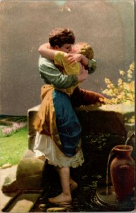 AK 1920 Meister der Farbe - Love Source / Couple lovers kiss romantic Postcard