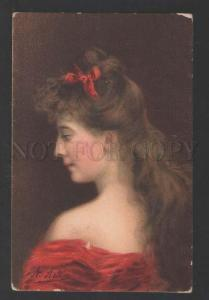 118029 Lady in Red w/ LONG HAIR by Angelo ASTI vintage RARE PC