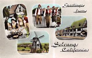 Solvang CA Gift Shop~Long Danish Pipes~Windmill~Stores Colorized  RPPC 1968