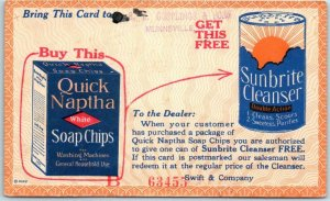 Chicago Ad Postcard SWIFT & COMPANY Quick Naptha Soap Chips / Sunbrite Cleanser