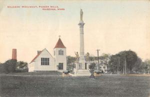 Wareham Massachusetts Parker Mills Soldiers Monument Antique Postcard K69911