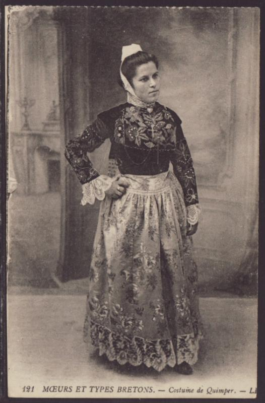 French Woman in Costume Postcard