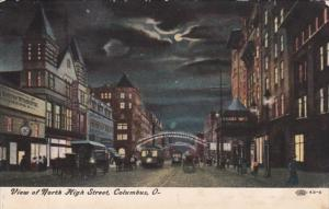 Ohio Columbus View Of High Street At Night