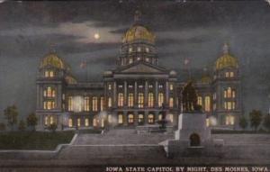 Iowa Des Moines State Capitol Building At Night 1915
