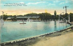 El Paso Texas~Washington Park~Free Public Bathing Beach~Life Guard Stand~1914