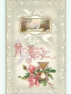 Pre-Linen new year GOLDEN HOURGLASS WITH PINK ROSE FLOWERS k5407