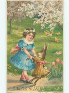 Pre-Linen Easter HUMANIZED BUNNY RABBIT DANCING WITH GIRL AB3302