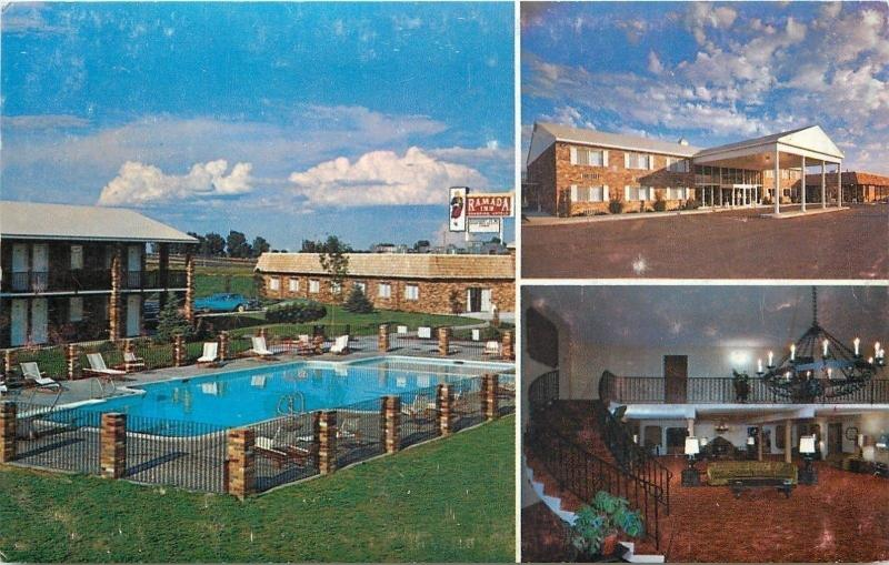 Burley Idaho~Ramada Inn Swimming Pool 1950s Curvy Steps Down From Atrium~Carport