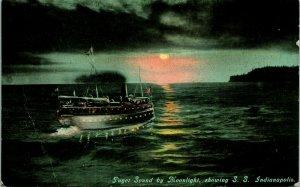 Vtg Postkarte 1910s Puget Geräusch Von Moonlight Zeigt S.S.Indianapolis