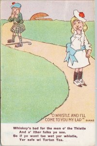 Balfour & Co. Advertising Comic Man Woman Tartan Tea Postcard F95