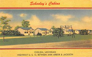 Chelsea MI Schooley's Cabins on U. S. 12 Postcard