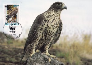 Iceland Gyrfalcon Rare WWF Stamp First Day Cover Postcard