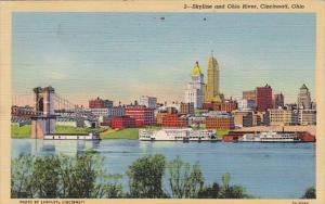 Ohio Cincinnati Skyline and Ohio River 1942 Curteich