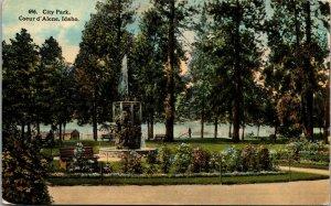 City Park Coeur d'Alene Idaho ID Vintage Linen Postcard