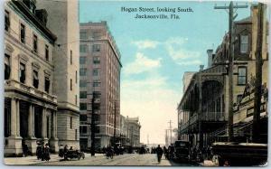 1920s Jacksonville, Florida Postcard HOGAN STREET Looking South Downtown Scene