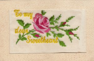 Hand Sewn, 1900-10s; To my dear Sweetheart, Pink rose & rose buds