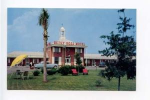 Fayetteville NC Red Chairs Motel Old Cars Postcard