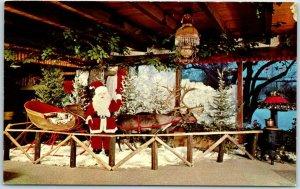 Gurnee, Illinois Postcard THE RUSTIC MANOR RESTAURANT Santa Claus Scene 1960s