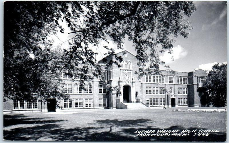 Ironwood, Michigan RPPC Photo Postcard LUTHER WRIGHT HIGH SCHOOL 1963 Cancel