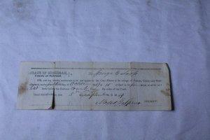 Vintage 1849 Court Summons Receipt Pontiac, MI with Embossed Print