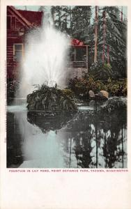 Tacoma Washington~Point Defiance Park-Fountain in Lily Pond~Log Cabin~c1905 Pc