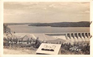 Fort Gibson Lake Oklahoma Dam Birds Eye View Real Photo Antique Postcard J67804