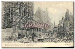 Old Postcard The Army Leuven Town Hall and the cathedral bombed