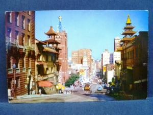 Postcard CA San Francisco California Street View Cable Cars & Chinatown