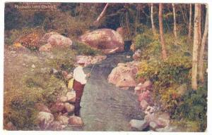 A highland Stream, Fisherman, Muskoka Lake District, Pre-1905