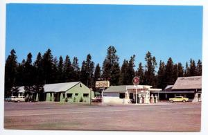 West Yellowstone MT Socony Gas Station Pete's Motel Laundry mat Cars Postcard