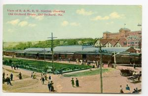 Old Orchard Beach ME Railroad Train Station Depot Busy Day Postcard