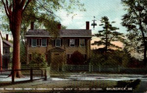 Maine Brunswick The House Where Henry W Longfellow Roomed While At Bowdoin Co...