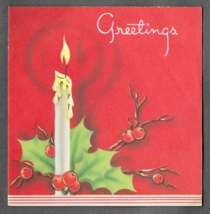 VINTAGE 1940s WWII ERA Christmas Greeting Holiday Card CANDLE & HOLLY Art Deco