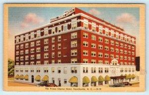 FAYETTEVILLE, North Carolina NC ~ Roadside PRINCE CHARLES HOTEL c1940s  Postcard