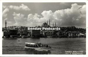 turkey, ISTANBUL, View on Süleymaniye Camii, Mosque Islam (1961) RPPC, Stamps