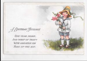 Vintage Postcard A Birthday Message Girl Flowers Embossed Dated 1919 Unposted