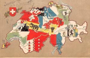 Switzerland Souvenir de la Suisse Map Landkarte Patriotic Flag Coat of Arms 1902