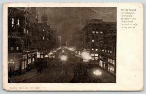 Los Angeles California~Spring Street Night Lights~Trolley on Tracks~c1905 B&W