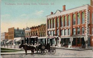 Valparaiso IN Washington Street looking south National Bank Kropp Postcard G73