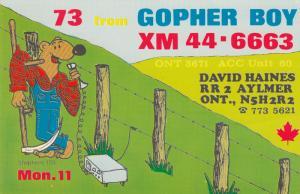 AYLMER , Ontario , 50-60s ; Gopher , QSL Radio Postcard