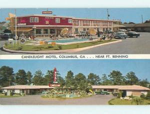 Unused 1950's OLD CARS & CANDLELIGHT MOTEL & RESTAURANT Columbus GA u4876-22