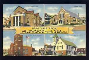 Greetings From Wildwood By The Sea, New Jersey/NJ Postcard, Multi-View, Churches