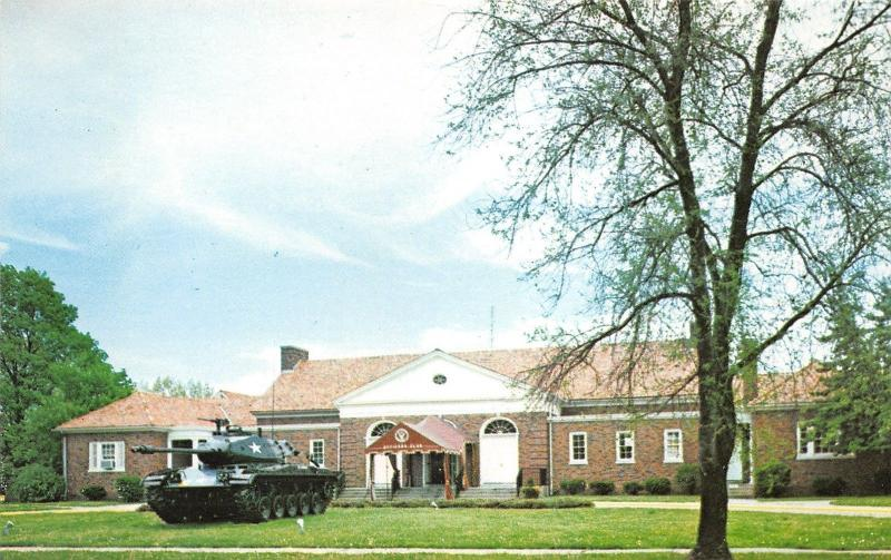 Fort Knox Kentucky~Army Officers Club House~Tank on Display~1960s Postcard