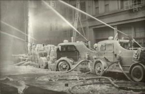Chicago IL (I Think) Fire Engines Spraying Water Covered in Ice c1950 RPPC