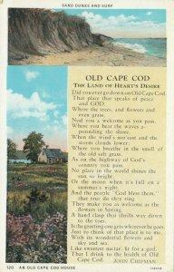 CAPE COD , Massachusetts, 1910s; An Old Cape Cod House, Sand Dunes & Surf, Poem